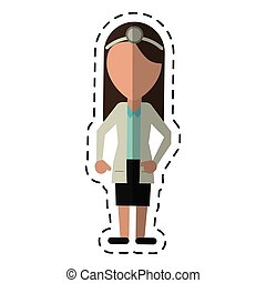 cartoon doctor female with head mirror and coat vector...