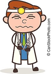 Cartoon Doctor Having Pain in Stomach Vector Illustration