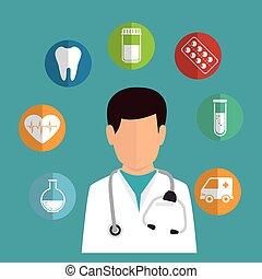 cartoon doctor healthcare medicine icons