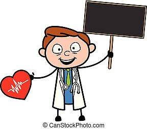 Cartoon Doctor Holding a Heart and a Plank Vector