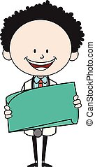 Cartoon Doctor - Holding a Paper Banner