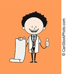 Cartoon Doctor - Holding a Paper Scroll and Showing Thumbs Up