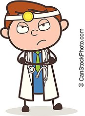Cartoon Doctor in Unhappy Mood Vector Illustration