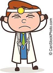 Cartoon Doctor Irritated Expression Vector Illustration