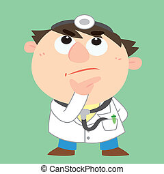 cartoon doctor is thinking