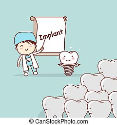 dentist teach teeth implant - cartoon doctor or dentist...