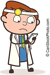 Cartoon Doctor Reading Messages in Smartphone Vector Illustration