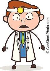 Cartoon Doctor Shocked Face Vector Illustration