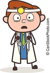 Cartoon Doctor Shocked Facial Vector Illustration