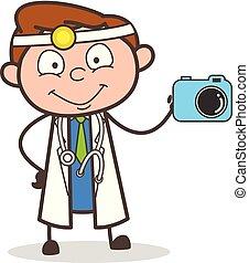 Cartoon Doctor Showing Best Quality Digital Camera Vector Illustration