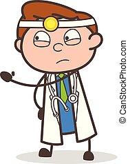 Cartoon Doctor Showing Slap Vector Illustration