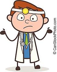 Cartoon Doctor Surprised Expression Vector Illustration