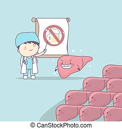 cartoon doctor teach liver to be health, great for health...