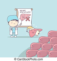 cartoon doctor teach liver