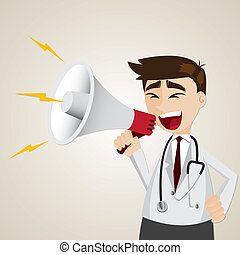 cartoon doctor using megaphone - illustration of cartoon...