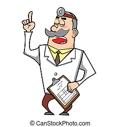 Cartoon Doctor with Clipboard - Vector illustration of a...