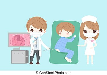 cartoon doctor with intestine health concept on green background