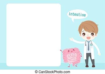 cartoon doctor with intestine