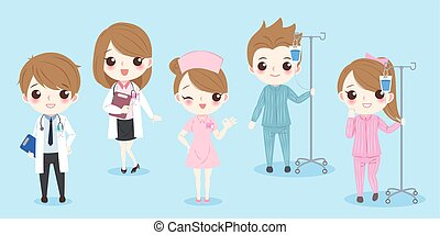 cartoon doctor with patient on the blue background