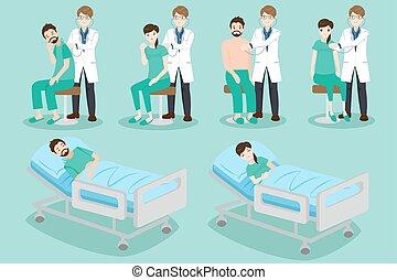 cartoon doctor with patient