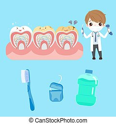 cartoon doctor with tooth