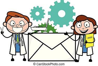 Cartoon Doctors with Envelope Vector