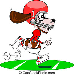 Cartoon dog American footballer