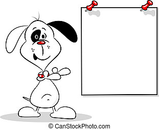 Cartoon Dog and Blank Poster