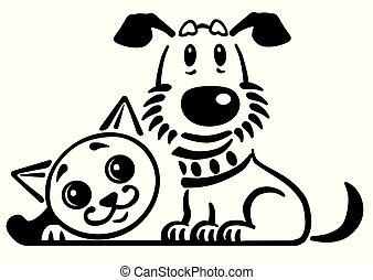 cartoon dog and cat logo black white