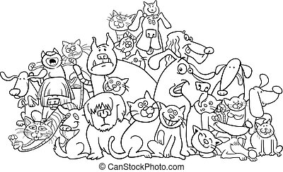 cartoon dog and cats coloring book