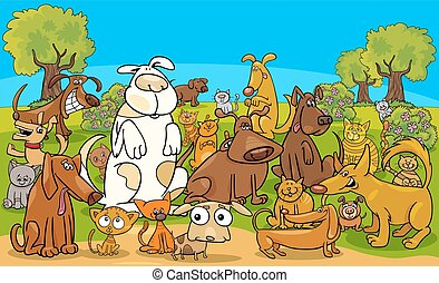 cartoon dog and cats comic characters group