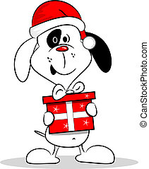 Cartoon Dog and Christmas Gift