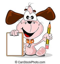 Cartoon dog and clipboard