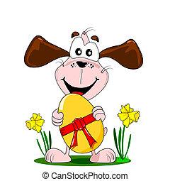 cartoon dog and easter egg