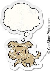 cartoon dog and thought bubble as a distressed worn sticker