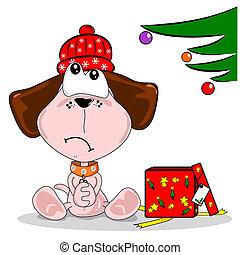 Cartoon dog and unwanted Xmas gift