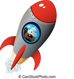 Astronaut - Cartoon Dog Astronaut In Old Style Spaceship