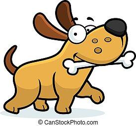 A cartoon illustration of a dog with a bone.