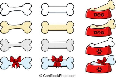 Cartoon Dog Bone With Ribbon And Bow. Vector Collection Set