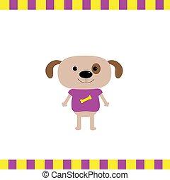 Cartoon dog boy card Flat design