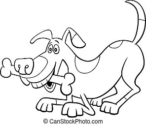 cartoon dog character with bone color book page