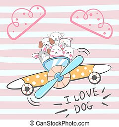 Cartoon dog characters. Airplane illustration.