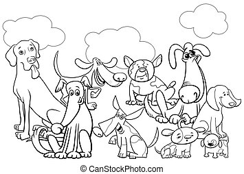 cartoon dog characters group coloring book