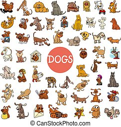cartoon dog characters large set