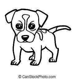 cartoon dog coloring page vector