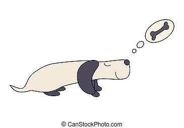 Cartoon dog Dachshund dreams of eating a bone, vector illustration.