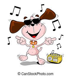 Cartoon dog with sunglasses dancing to music from radio