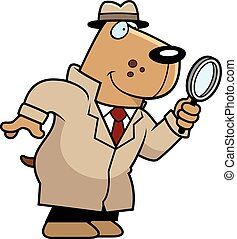 A cartoon illustration of a dog detective with a magnifying glass.