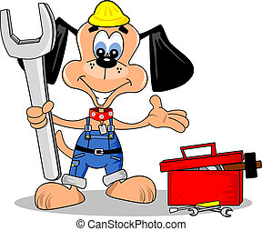 A cartoon dog as a DIY repair man with tools