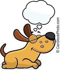 Cartoon Dog Dreaming - A cartoon illustration of a dog...